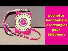 Coudre une pochette bandoulière pour téléphone avec 2 rectangles - YouTube Pochette Portable Couture, Diy Pochette, Smartphone, Crochet, Tote Bag, Personalized Items, Sewing, Bags, Chocolates