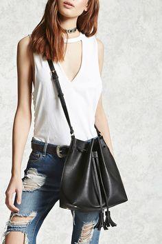 Faux Leather Tassel Bucket Bag