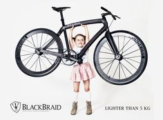 Despite its menacing appearance, the Blackbraid bicycle weighs less than 11lbs. Made by PG-Bikes in collaboration with Munich Composites, the bike's frame is made from braided carbon fiber.