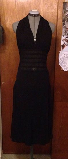 Jean Paul Gaultier Femme Black Halter Cocktail Dress 8 Made in Italy S | eBay