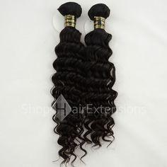 Unprocessed 2pcs/lot Same Length Natural Black (#1B) Virgin Brazilian Remy Hair Bundles Deep Curly 200g