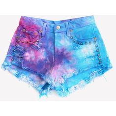 Hand Dyed Magic Studded Shorts One of A Kind ❤ liked on Polyvore featuring shorts, bottoms, pants, short, short shorts, silver shorts, ripped shorts, denim cut-off shorts and destroyed jean shorts