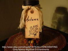 Autumn half gallon Mason Jar lamp filled by MYSTICALLYENCHANTING, $26.50