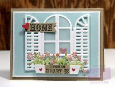 Designed by Lori Barnett. Crafter's Companion Mediterranean Window Die, Bebunni Floral Collection Dies - Hearts Vintage Florals Collection Sentimentals - Phrases stamp set. @CraftersCompUS @crafterscompuk #crafterscompanion