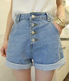 Aliexpress.com : Buy 2015 new arrival spring summer women fashion casual high waisted four buttons loose edge curl denim shorts from Reliable denim jeans for women suppliers on Cher's store | Alibaba Group