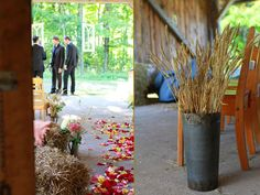 I love the tin planter of wheat for the ceremony.  You could do that instead of the archway.  And if it's chilly, have a basket of blankets for the ladies as they take their seats