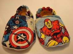 THE AVENGERS baby shoes (pick from) Iron Man, Spider-Man, Wolverine, Thor and Captain America in a vintage comic style