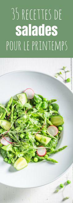 35 light and easy salad recipes for spring! Batch Cooking, Healthy Cooking, Cooking Recipes, Healthy Food, Vegetarian Recipes, Healthy Recipes, Vegetarian Salad, Summer Salads, Going Vegan