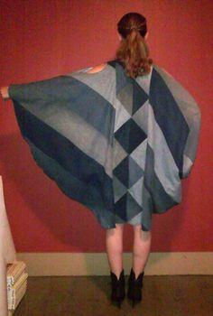 TASSIE Recycled Denim batwing Jean Coat Dress. $295.00, via Etsy.