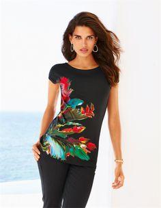 Das Shirt mit intensivem Leuchtprint – ein Kurzarm-Shirt mit neuer Farbpower.