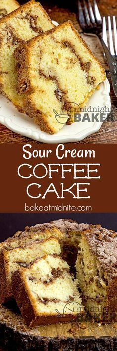 Sour cream keeps this delicious spicy and nutty coffee cake moist. Perfect for breakfast or any time. #cakes #coffeecake #easyrecipes #breakfast