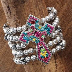 Silvertone beads/oversized cross