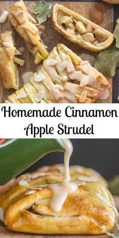 Homemade Cinnamon Apple Strudel, an easy made from scratch dough and filling rec. Homemade Cinnamon Apple Strudel, an easy made from scratch dough and filling recipe makes this a delicious an Apple Dessert Recipes, Köstliche Desserts, Delicious Desserts, Yummy Food, Easy Apple Desserts, Cinnamon Desserts, Apple Recipes Easy, Strudel Recipes, Pastry Recipes