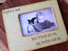 little brothers sisters picture frame distressed 4x6 crackle pattern
