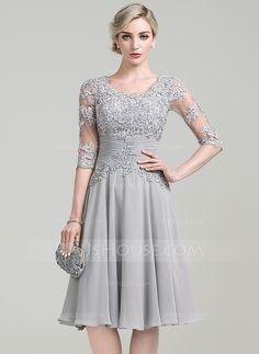 A-Line/Princess Scoop Neck Knee-Length Ruffle Appliques Lace Zipper Up Sleeves 3/4 Sleeves No 2016 Silver General Plus Chiffon Mother of the Bride Dress