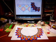 Diy Jewelry, Beaded Jewelry, Beading Projects, Bead Crafts, Mexican, Beads, Molde, Weaving Patterns, Chokers