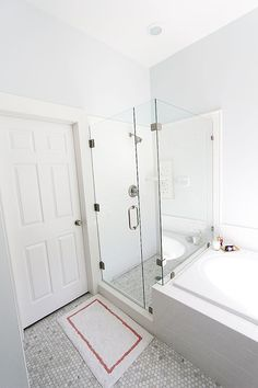 Master Bathroom Remodel don't move the layout, keep all the big items just spruce up with tile and paint.