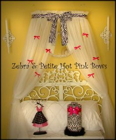 So Zoey Boutique - Zebra Bedroom Princess Crown Canopy with Netting Hot Pink Petite Bows- Canopy Bedroom, Diy Canopy, Fabric Canopy, Canopy Tent, Hotel Canopy, Tree Canopy, Fabric Panels, Beach Canopy, Toddler Girls
