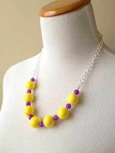 Yellow and Purple Glass Bead Necklace - James Madison Duke Necklace - JMU or ECU Game Day Necklace - Bianca Collection Necklace