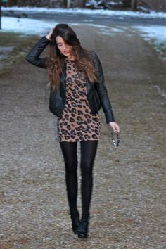 Fall look - animal print dress and leather jacket