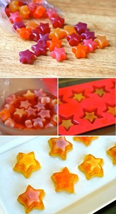 Jello Shot Stars- how cute this would be for a party! Party Drinks, Fun Drinks, Yummy Drinks, Cocktails, Yummy Food, Beverages, Jello Recipes, Shot Recipes, Gelatina Jello