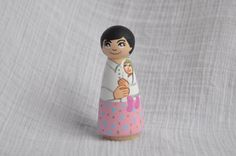 St Gianna Beretta Molla / Wooden Handpainted by StMiriamandFriends