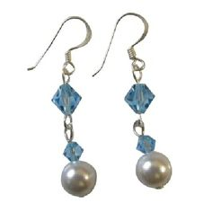 Price $4.49  Fabulous Bridesmaid Earrings Wedding Collections of Genuine Swarovski Ivory Pearls with Aquamarine Bicone Crystals in sterling silver 92.5 hook. We can Customize as per your color size and design with reasonable price for your bridal party. Affordable Stylish Inexpensive Gorgeous Earrings.  http://www.fashionjewelryforeveryone.com/Under5Static/UER610.html