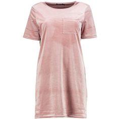 Boohoo Emilia Velvet T-Shirt Dress   Boohoo ($18) ❤ liked on Polyvore featuring dresses, t shirt dress, pink t shirt dress, tee dress, boohoo dresses and pink velvet dress