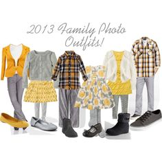 Yellow & Gray Family Photo Outfits