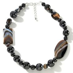 """Jay King Black Lace Stone Sterling Silver 18-1/2"""" Bead Necklace at HSN.com."""