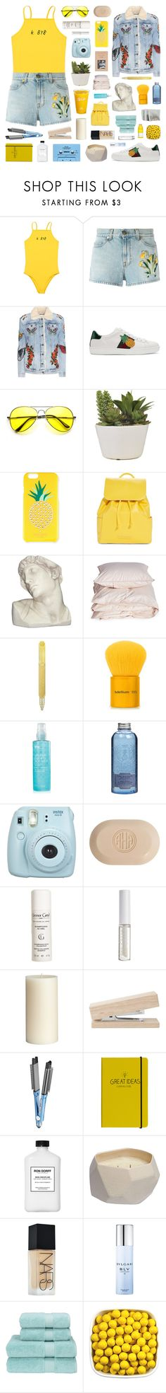 """the salty waves crash against my skin"" by julyuhnah ❤ liked on Polyvore featuring Gucci, Kate Spade, Vera Bradley, House Parts, Aiayu, Tom Dixon, Bdellium Tools, Bliss, Le Couvent des Minimes and Fujifilm"
