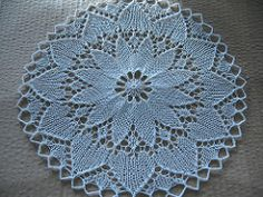 This doily has been successfully knit with yarn of any weight from size 60 thread on 1mm needles all the way up to fingering weight cotton on size 3.75mm needles.