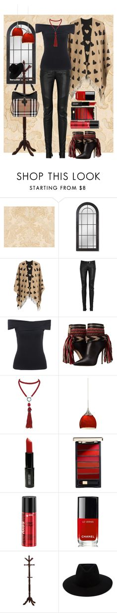 """Black and Tan with spots of red"" by loves-elephants ❤ liked on Polyvore featuring Williams-Sonoma, Burberry, Balmain, Dsquared2, Marina J., Lord & Berry, L'Oréal Paris, Chanel, Monarch Specialties and rag & bone"