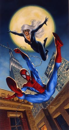 Spiderman and Black Cat by Joe Jusko