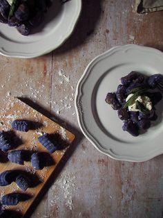 Purple Potato Gnocchi with Buttery Sage & Garlic Purple Potatoes, Lemon Wedge, Potato Mashers, Fresh Garlic, Vegan Butter, Treat Yourself, Gnocchi, A Food, Sage