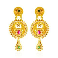 22K Gold Polki Earrings ( Long Earrings )