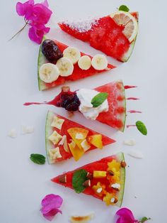 "Watermelon ""Pizza"" Slices with Healthy Cocolrful Toppings 