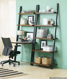 Our Hambledon Desk Ladder updated to include a desk with a laptop