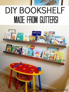 Easy DIY Bookshelf made from gutters! So easy to install | herecomesthesunblog.net