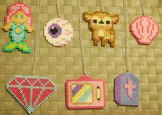 Kawaii Perler Necklaces/Magnets! Mermaid - Eyeball - Deer - Sea Shell - Diamond - Television - Tombstone