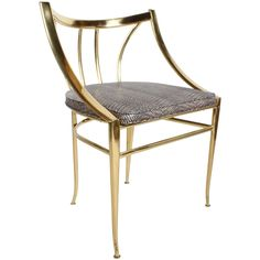 Italian Brass Side or Desk Chair  | From a unique collection of antique and modern chairs at https://www.1stdibs.com/furniture/seating/chairs/