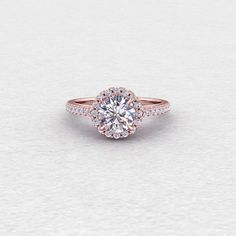 Forever One Moissanite with Scroll Detailing Conflict Free Diamond Halo Conflict Free Diamond Engagement Wedding November Birthstone Ring