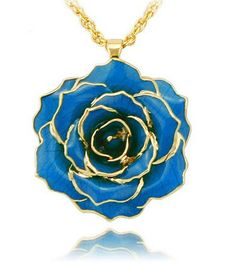 ZJchao 30mm Golden Necklace Chain with 24k Gold Dipped Real Rose Pendant