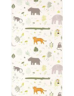 Happy Dreams Savanna Kaki non woven. En tapet från Casadecos kollektion Happy Dreams med djur så som noshörning, krokodil, apa, tiger och fåglar från savannen. En perfekt barntapet. Motifs Animal, Merlin, Kids Rugs, Beige, Wallpaper, Happy, Crocodiles, Dreams, Bb