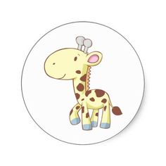 Baby Giraffe Cartoon | Cute Cartoon Baby Giraffe Shirts Stickers from Zazzle.com