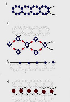 Schema 4 Free pattern for amazing beaded bracelet Hollywood round beads 3 mm perline 10/0 e 11/0