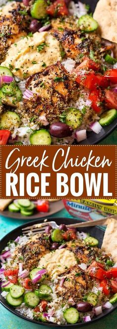 Greek Chicken Rice Bowl - This rice bowl is packed with hearty grains, crisp vegetables and lean protein! The Greek marinade also doubles as a dressing, making it easy to make! chicken dinner 20 Minute Greek Chicken Rice Bowl - The Chunky Chef Comida Diy, Chicken Rice Bowls, Chicken Ravioli, Chicken And Rice Dishes, Chicken Meals, Healthy Chicken, Dinner Bowls, Cooking Recipes, Healthy Recipes