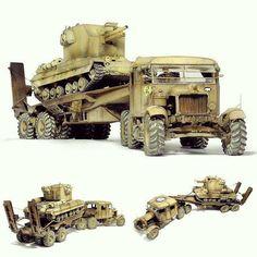 K-100 Scammell Tank Transporter & Bishop SPG 1/35. Modeler  Piotr Gładki #scalemodel #plastimodelismo #plastickits #usinadoskits #udk #hobby #modelismo #modelisme #modelism #plasticmodel #plamodel #plastimodelo