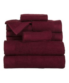 This Burgundy Egyptian Cotton 10-Piece Towel Set by Lavish Home is perfect! #zulilyfinds