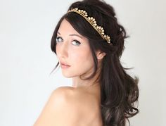 Bridal Headband Gold Rhinestone by DeLoop wedding hair accessory, bridal tiara, wedding crown...